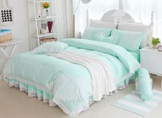 Fancy Mint Green Lace Embellishment 4-Piece Cotton Duvet Cover Sets #bedding #bedroom #decor