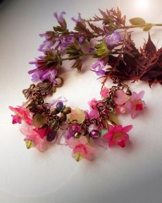 lucite flower fairy blossom pink purple green by EmeraldsDreams, $53.00