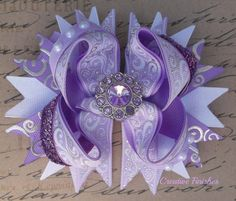 Lavender Rhinestone Center Stacked Bow  by Creative Finishes Bows Perfect for Sophia the First Outfit