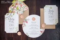 Garden inspired wedding invitations, floral wedding stationery, flower invites, wedding invitation ideas, wedding inspiration INDOOR SECRET GARDEN WEDDING www.elegantwedding.ca
