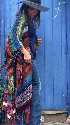 LONG Handknit Womens Bohemian Festival Hippie Beach by poshbygosh Crochet Jacket, Crochet Shawl, Knit Crochet, Moda Hippie, Moda Boho, Chaleco Casual, Boho Chic, Bohemian, Knit Patterns