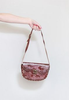 Vintage+1970's+Brown+Floral+Tooled+Leather+Handbag