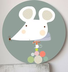 Mouse kids wall art. Paper print on wood panel by Haciendoelindio