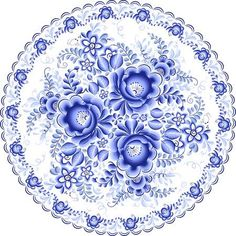 Ornate blue plate in gzhel style (traditional style of Russian ceramics, painted with blue on white). Russian Love, Best Flooring, Blue Plates, Chinoiserie, Shades Of Blue, Jewelry Crafts, Pattern Design, Miniatures, Blue And White
