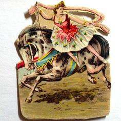 **SOLD**  Victorian Circus Die Cut Acrobat Lady on Horse