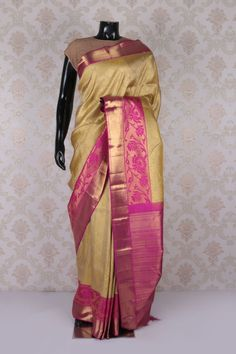 Beige multicoloured pure kanjeevaram silk sublime saree with pink & gold border