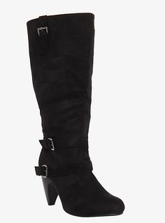 Slouchy Suede Heeled Boots (Wide Width)