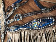 Blue mystic with mystic rose gold fringe Barrel Racing Saddles, Barrel Saddle, Barrel Racing Horses, Barrel Horse, Saddle Rack, Horse Gear, Horse Tips, Horse Barns, Horse Stalls
