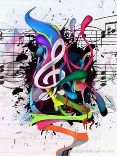 Music art -- treble clef & notes