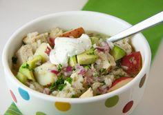 Chicken rice avocado soup