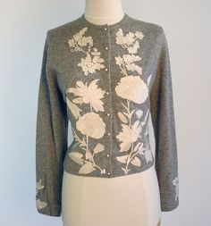 1950s Cashmere sweater with giant white Roses