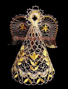 Ангел, золото-серебро, вид спереди