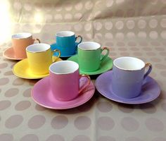 vintage coffee cup set by Thinkback on Etsy, $42.00
