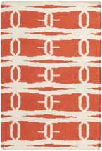 Jill Rosenwald Fallon FAL-1033 Coral Flat Weave Area Rug