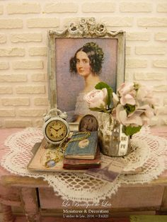Shabby Jug in metal, Pink rose and Hydrangea, Cameo and old books, French miniature house decor in1:12th scale
