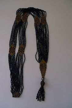 Beautiful authentic antique micro beaded midnight blue flapper necklace (09/19/2013)