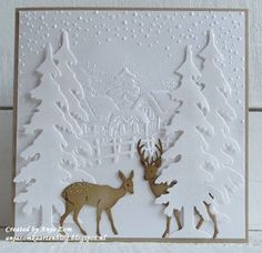 Hello everyone, Have two more to show with those beautiful new design folders from Marianne Design. Christmas Card Crafts, Homemade Christmas Cards, Christmas Cards To Make, Xmas Cards, Homemade Cards, Handmade Christmas, Holiday Cards, Cricut Cards, Stamping Up Cards