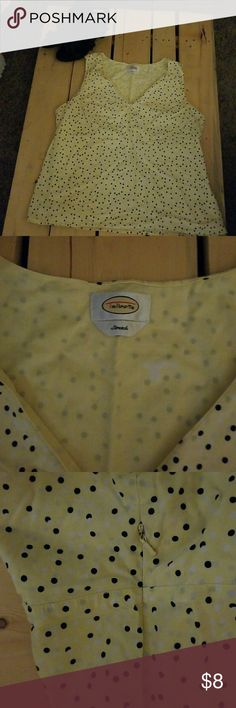 Blouse Sleeveless yellow blouse with black polka dots. Talbots Tops Blouses