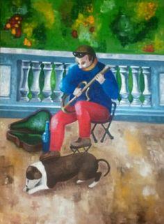 Oleo sobre lienzo - el musico de barcelona