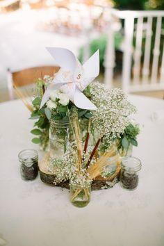 Nashville Garden Wedding August 18 Mason Jar Centerpiece