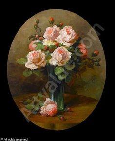 SCHÜTZE Wilhelm,Still life of roses in a glass vase Gravure Illustration, Oil Painting Flowers, Arte Floral, Small Art, Moon Art, Beautiful Paintings, Landscape Art, Flower Art, Still Life