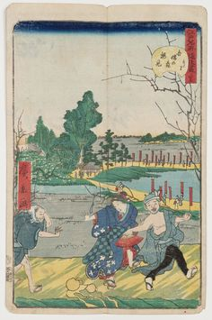 No. 35, Plum-blossom Viewing at Azuma-no-mori (Azuma-no-mori umemi), from the series Comical Views of Famous Places in Edo (Edo meisho dôke zukushi) Japanese Edo period 1859 (Ansei 6), 11th month Artist Utagawa Hirokage (Japanese, active 1855–1865)