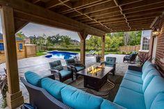 COZY outdoor living area!!! #backyardgoals #outdoorliving #landscaping #home #poolside