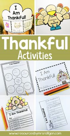 "Thankful Activities for Kindergarten {Plus a FREEBIE!} | Resources by Mrs. Roltgen --- Thankful Activities for Kindergarten {Plus a FREEBIE!} | You're going to love using this great download with your Kinder classroom or homeschool students. Click through to see the writing activities, turkey flip book, craft, ""I am thankful"" book, ""We are thankful"" class book, and crown. Plus there's a FREE download. Great to use during November or the week before fall break. Grab it now! (home school, Kindy)"