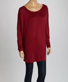 Look at this Burgundy Long-Sleeve Dolman Top on #zulily today!