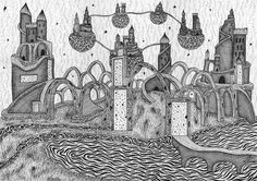 Castles in Time - One of my more intricate pieces that was an absolute pleasure to do and the negative is quite possibly my favourite as i feel that it really comes to life Pen Art, My Drawings, Barcelona Cathedral, Wildlife, Africa, Sketches, My Favorite Things, Castles, Illustration