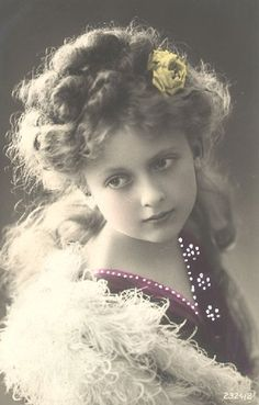 Lovely tinted girl photo postcard