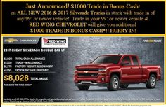Just announced! $1000 Extra trade bonus from GM when you trade in a 99' or newer vehicle! Trade in a 99' or newer with under 100,000 miles and Red Wing Chevrolet will give you an additional $1000! #redwingchevrolet