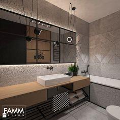 INDUSTRIAL NA MOKOTOWIE - Mała łazienka w bloku bez okna, styl vintage - zdjęcie od FAMM DESIGN