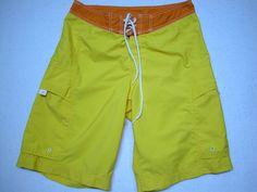 Nike Men's Cargo Style Board Shorts Swim Trunks Size 32 ( M ) Yellow Orange  #Nike #BoardShorts