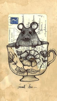 Art on a Vintage Letter/Post Card - Mouse Tea