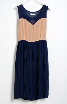 Blue Pink Pin Up Pleated Round Neck Sleeveless Chiffon Dress pictures