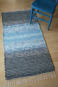 SERENE SCENE -- Handwoven rug in shades of blue with touches of red and white on Etsy, $110.00