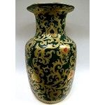 """Emerald and Gold Porcelain Vase with Pomegranates 14"""""""