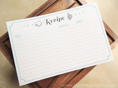 Do you use recipe cards? You should! Here are five reasons why, plus a free printable recipe card download so you can get started! | Free Printable Recipe Cards | Download | Mom Makes Joy