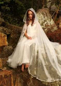 441IV - Ivory Organza Cloak - Gothic, romantic, steampunk clothing from The Dark Angel