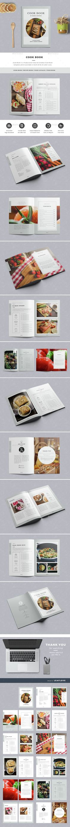 Cook Book / Recipe Book by LeafLove Cook Book / Professional Clean & Creative Cook Book Template. This layout is suitable for any project purpose. Recipe Book Templates, Cookbook Template, Menu Template, Recipe Book Design, Cookbook Design, Book Design Layout, Book Cover Design, Editorial Layout, Editorial Design