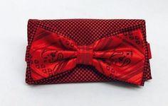 Stacy Adams Bow Tie & Hanky Set Red & Black Multi Design Microfiber Men's #StacyAdams #BowTie
