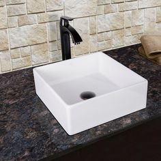 Vigo Dianthus Matte Stone Vessel Sink and Titus Antique Rubbed Bronze Finish Dual Lever Wall Mount Faucet with Pop Up, White Vessel Faucets, Vessel Sink Bathroom, Bathroom Faucets, Lavatory Sink, Bathrooms, Composite Sinks, Stone Bathroom, Small Bathroom, Master Bathroom