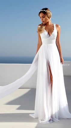 Deep V-Neck High Side Split Wedding Dress with Long Train White Lace Appliques Flora Summer Boho Wedding Dresses 2018 Tiefem V-Ausschnitt High Side Split Brautkleid mit langen Zug White Lace Appliques Flora Sommer Boho Brautkleider 2018 auf Storenvy Boho Wedding Dress With Sleeves, Fairy Wedding Dress, Making A Wedding Dress, V Neck Wedding Dress, Wedding Dresses 2018, Long Sleeve Wedding, Perfect Wedding Dress, Long White Dress Boho, Event Dresses