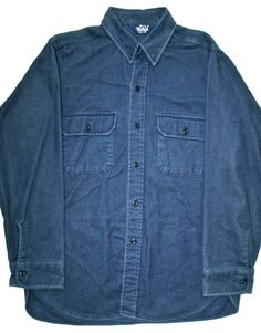 Vintage Woolrich Navy Flannel Mens Shirt Made in the USA. $30.00