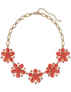 Brilliant statement necklace takes on a fresh, feminine appeal with cabochon stone flowers for a burst of bright color. Lobster claw closure with extender. lanebryant.com