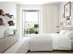 (Love the floor to ceiling curtains!) White and beige bedroom with a viewWhite and beige bedroom with a view. home decor and interior decorating ideas. Eyebrow Makeup Tips Interior Architecture, Interior Design, Vintage Architecture, Interior Plants, Design Interiors, Interior Ideas, Make Your Bed, Suites, Dream Bedroom