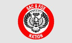The seal of the largest of the three Sac and Fox bands honors two noted members: the athlete Jim Thorpe and the great Chief Black Sparrow Hawk. The circular seal bears a black and white depiction of a sparrow hawk with a shield on its chest. The colors refer to the two social classes of the Tribe.