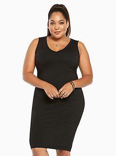 Jersey Knit Bodycon Midi Dress, DEEP BLACK