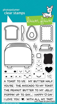 Celebrate any occasion with the Let's Toast Clear Photopolymer Stamps from Lawn Fawn! There are 31 stamps included on the 4 Words To Describe Love, Micro Creche, Tiny Gifts, Lawn Fawn Stamps, Interactive Cards, L Love You, Friendship Cards, Penny Black, Copics